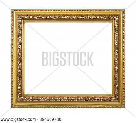 : Gold Wooden Picture Frame Vintage Style And Luxury Isolated On White Background, Empty Oak Wood Pi