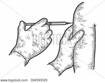 Vaccination In The Shoulder Against Diseases. Engraving Vector Illustration.