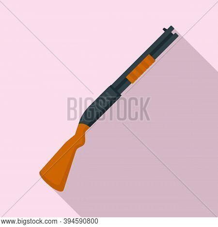 Hunter Shotgun Icon. Flat Illustration Of Hunter Shotgun Vector Icon For Web Design