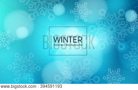 Winter Abstract Vector Template Design. Winter Abstract Background Text With Snowflakes Elements In