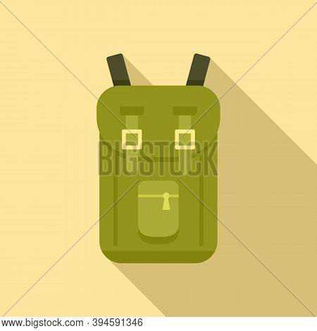 Safari Hunting Backpack Icon. Flat Illustration Of Safari Hunting Backpack Vector Icon For Web Desig