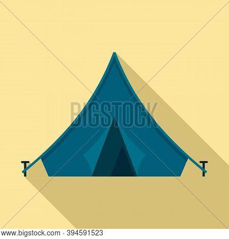 Safari Hunting Tent Icon. Flat Illustration Of Safari Hunting Tent Vector Icon For Web Design