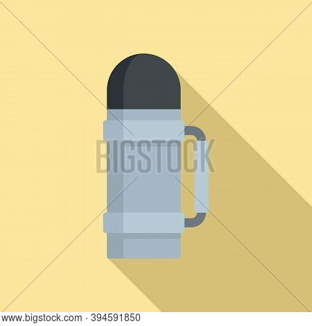 Safari Hunting Thermos Bottle Icon. Flat Illustration Of Safari Hunting Thermos Bottle Vector Icon F