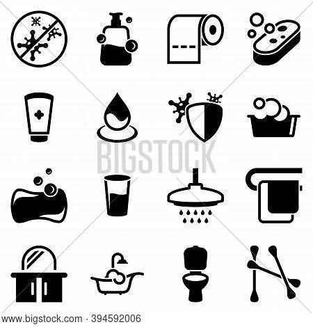 Set Of Simple Icons On A Theme Hygiene, Sanitation, Latrine, Vector, Design, Collection, Flat, Sign,