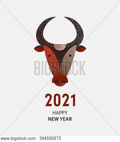 Chinese New Year 2021. Zodiac Ox. Happy New Year Card, Pattern, Art, Logo, Poster With Ox. Decorated