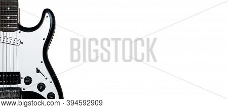 Part Of Body Electric Guitar Isolated On White Background. Banner, Copy Space. . Black And White Gui