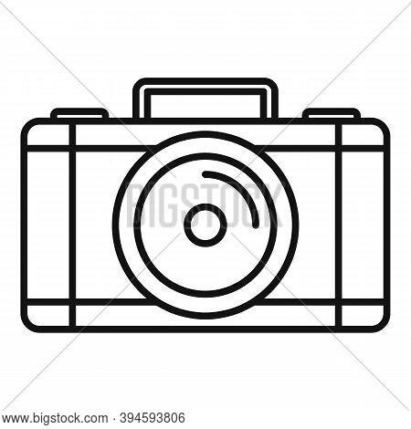 Safari Hunting Camera Icon. Outline Safari Hunting Camera Vector Icon For Web Design Isolated On Whi