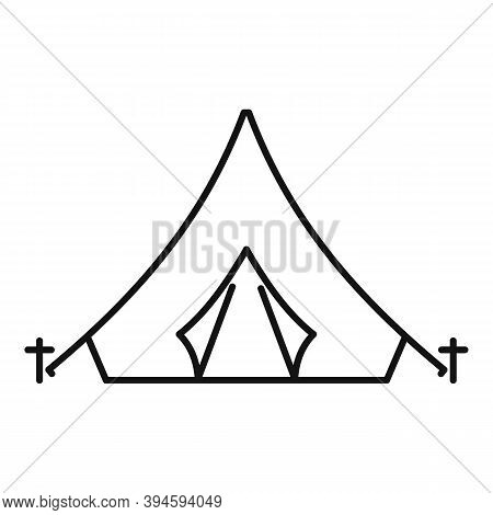 Safari Hunting Tent Icon. Outline Safari Hunting Tent Vector Icon For Web Design Isolated On White B