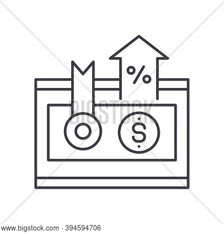 Bond Interest Rate Icon, Linear Isolated Illustration, Thin Line Vector, Web Design Sign, Outline Co