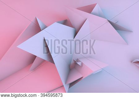 Abstract Colorful Cgi Background With Chaotic Triangular Installation Over Wall, 3d Rendering Illust