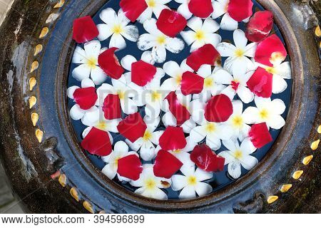 Red White Flower Petal Floating On Water In Jar