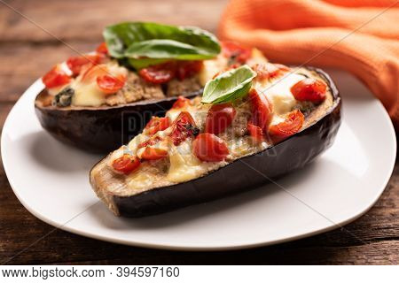 Stuffed Aubergines, Stuffed With Minced Meat, Tomatoes And Cheese