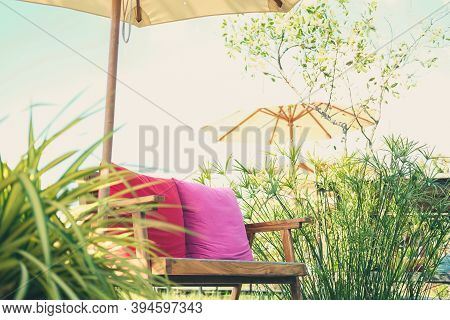 Wooden Chair Bench Seat On Terrace Patio In Rice Paddy Field