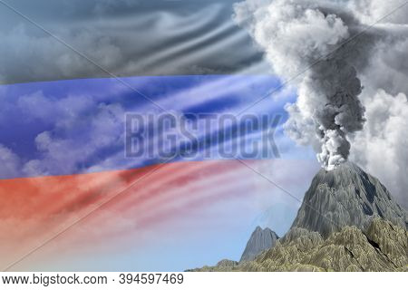 Stratovolcano Blast Eruption At Day Time With White Smoke On Nauru Flag Background, Suffer From Erup