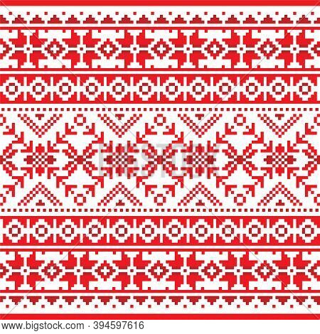 Winter And Christmas Fair Isle Style Traditional Knitwear Vector Seamless Pattern, Retro Shetlands K