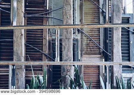 Old Shuttered Wooden Window Shutters Decorating On Wall