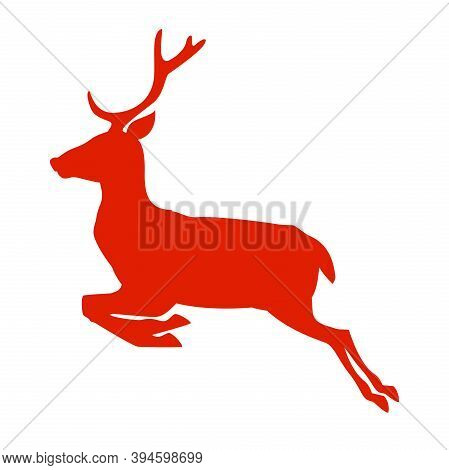 Running Or Jumping Reindeer Silhouette Icon Isolated On White Vector Illustration
