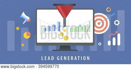 Lead Generation With Sales Funnel Concept For Generating New Business Leads. Increasing Conversion R