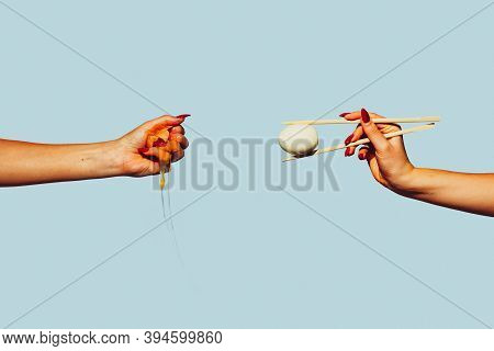 Hands With Eggs. Modern Art Collage In Pop-art Style. Hands Isolated On Trendy Colored Background Wi