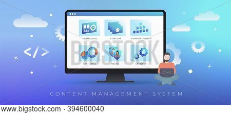 Cms - Content Management System Concept. Web Site Management Software, Create And Publish Arcticles,