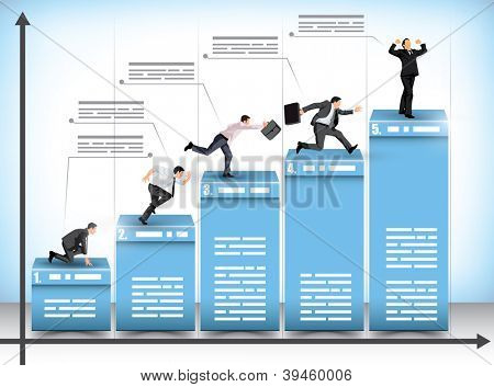 Pictograph business presentation bar graph with businessmen striving to reach the next level in an effort to beat the competition with the winner celebrating his achievement