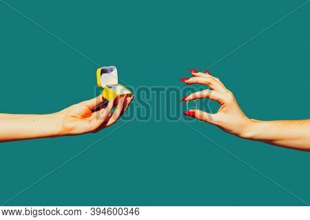 Marriage Ring. Modern Art Collage In Pop-art Style. Hands Isolated On Trendy Colored Background With
