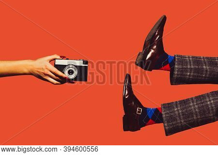 Camera And Shoes. Modern Art Collage In Pop-art Style. Hands And Legs Isolated On Trendy Colored Bac