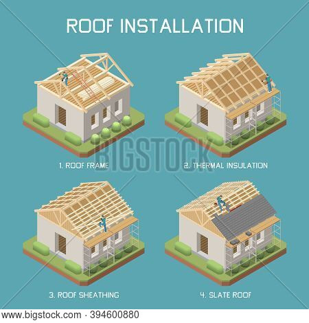 Slate Roof Installation Steps 4 Isometric Elements Set With Frame Thermal Insulation Sheathing Info