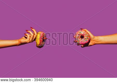 Donuts. Modern Art Collage In Pop-art Style. Hands Isolated On Trendy Colored Background With Copysp
