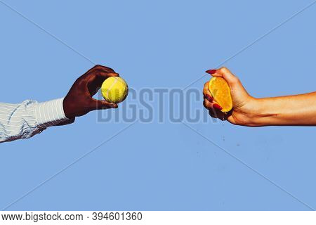 Orange And Tennis Ball. Modern Art Collage In Pop-art Style. Hands Isolated On Trendy Colored Backgr