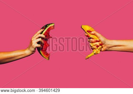 Watermelon, Banana. Modern Art Collage In Pop-art Style. Hands Isolated On Trendy Colored Background