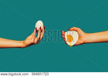 Fried And Boiled. Modern Art Collage In Pop-art Style. Hands Isolated On Trendy Colored Background W