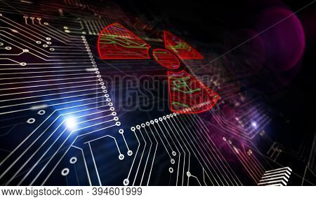 Processor Factory With Burning Cyber Attack With Nuclear Symbol 3D Illustration