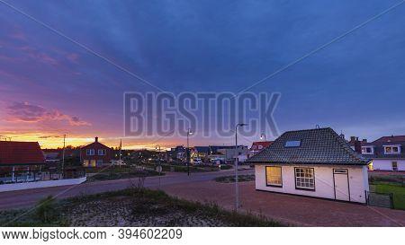 Den Burg, Netherlands - October 20, 2020: Sunset Den Burg One Of The Main Villages At Texel, Wadden