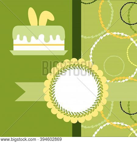 Design Template For Cute Easter Card. Template For Scrapbooking With Hand Drawn Doodle Patterns. For