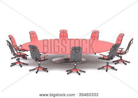 A round conference table with chairs