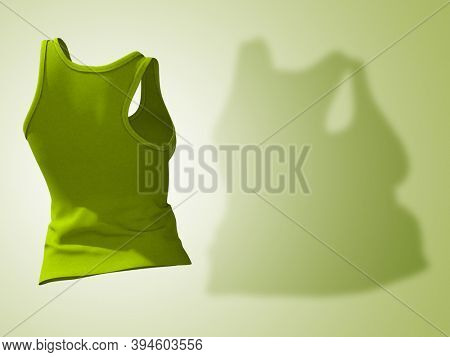 Conceptual fat overweight obese shadow female undershirt vs slim fit healthy body after weight loss or diet thin young woman on green. A fitness, nutrition or obesity health shape 3D illustration