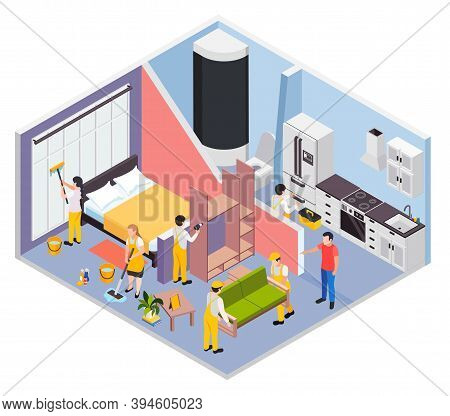 Renovation Repair Works Isometric Composition With Profile View Of Apartment Rooms With Host And Wor