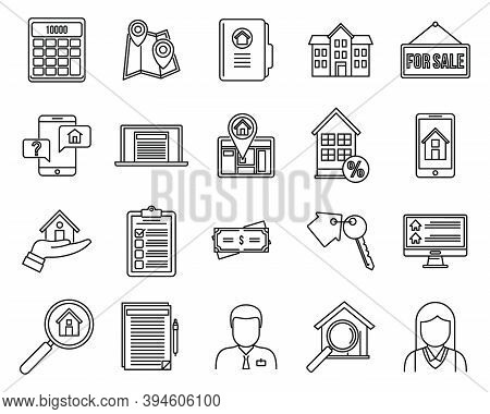 Investor Realtor Icons Set. Outline Set Of Investor Realtor Vector Icons For Web Design Isolated On