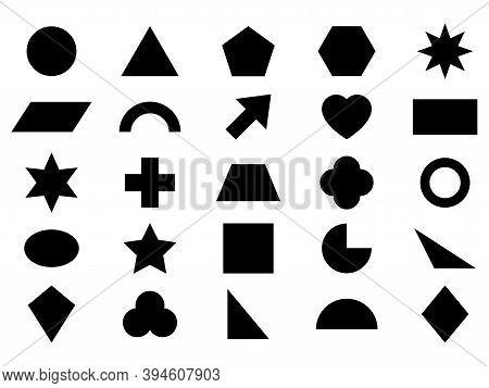 Geometric Shape Icon Set. Black Silhouette Large Collection Basic Figures Isolated On White