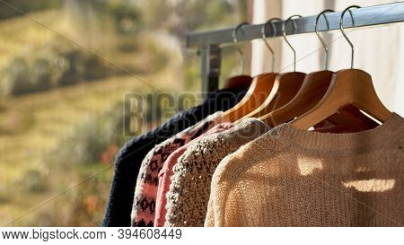 Autumn Winter Season Knitwear.colorful Warm Knitted Sweaters With Different Knitting Patterns On Han