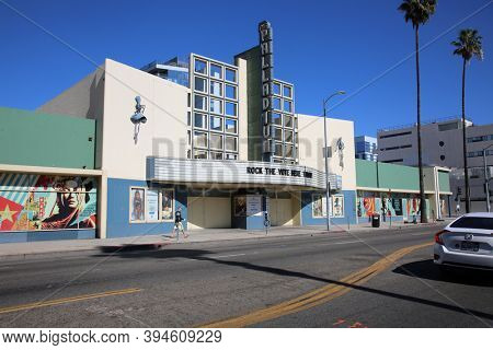 Hollywood, California - USA / November 10, 2020: Hollywood Palladium building in California. Hollywood Palladium is known for Concerts, Theater, and many events both public and private.