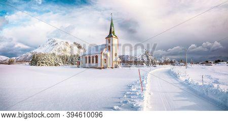 Splendid Snowy Winter Scene Of  Valberg Church On Lofoten Islands.  Location:  Valberg, Vestvagoy,