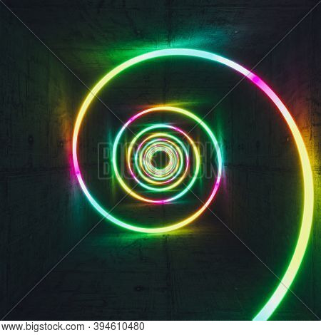 luminous spiral in different colors and neon light, concrete interior. 3d render.