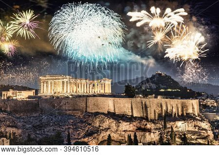 fireworks over Athens, Acropolis and the Parthenon, Attica, Greece - New Year celebrations