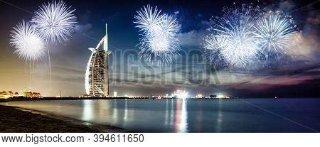 fireworks around Burj Al Arab - exotic New Year destination, Dubai, UAE