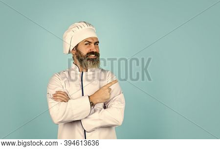 Cook Chef In White Uniform. Bearded Mature Man Chef. Bearded Man Restaurant Worker. Professional Coo