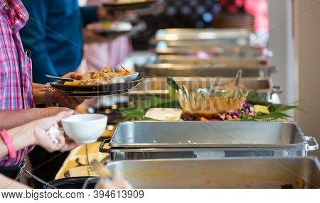 Food Buffet Catering Dining Eating Party Sharing Concept. People Group Catering Buffet Food Indoor I