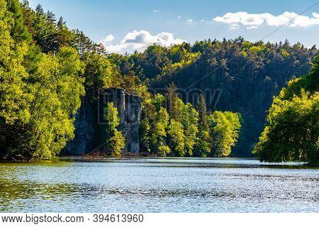 Sandstone Rock Towers Reflected In Vezak Pond, Czech: Vezicky Rybnik, Bohemian Paradise, Czech: Cesk