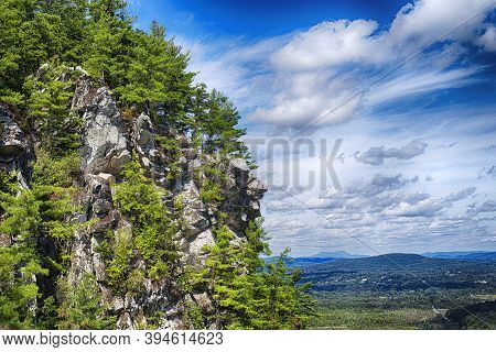 Rocky Outcroppings On Top Of Monument Mountain In Great Barrington Massachusetts On A Sunny Day.